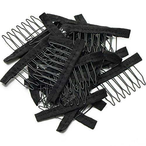 120 Pieces Wig Combs 7-teeth Wig Clips Steel Teeth with Cloth Wig Combs Hair Extensions for Wig Caps DIY Wig Accessories…