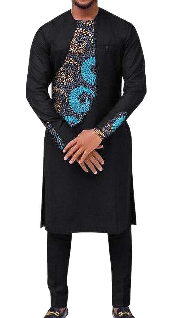 ainr Mens Splicing Pullover 2 Piece Fashion Shirt African Dashiki Africa Pants