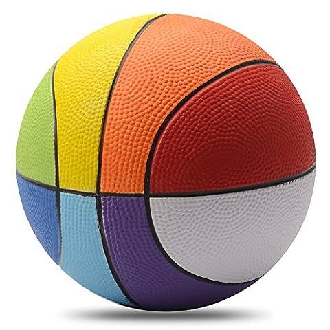Chastep 8 Inch Foam Sports Ball, Rainbow Basketball, Safe & Soft Kick - Good Gift for Kids - Soft Foam Top