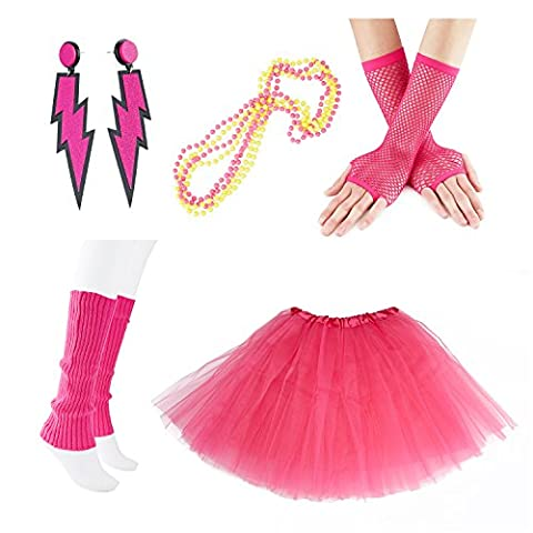 80s Fancy Outfit Costume Accessories Set,Adult Tutu Skirt Leg Warmers Fingerless Fishnet Gloves Neon Earrings and Neon Beads, color P, - Pink Party Accessories