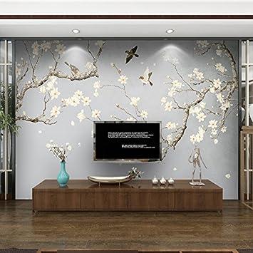 Tantoto Fototapete 3D 3D Neue Chinesische Tapete Blume Vogelgruppe ...