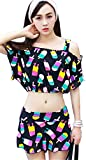 3PCS Popsicle Push-Up Skirted Beach Wear Cover-Up Off The Shoulder Crop Top Blouse Black L