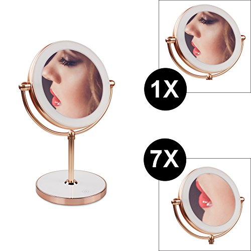 Vanity Mirror with LED lights,Natural Lighted Cosmetic Mirror with 7X Magnification,360 Degree Swivel,Rose Gold by THE D&B CRAFTS LLC (Image #5)