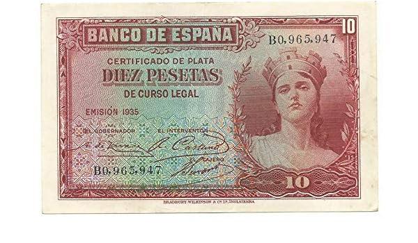 Matidia ESPAÑA II REPÚBLICA Billete Original 10 PESETAS 1935: Amazon.es: Juguetes y juegos