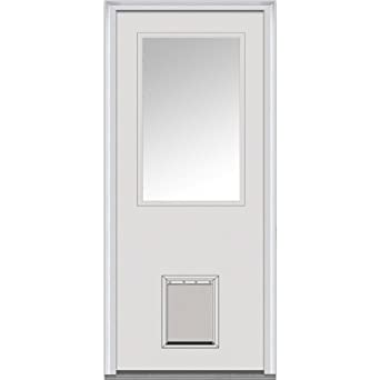 Beau National Door Company ZA00510L Fiberglass Smooth Primed, Left Hand  In Swing, Prehung Front