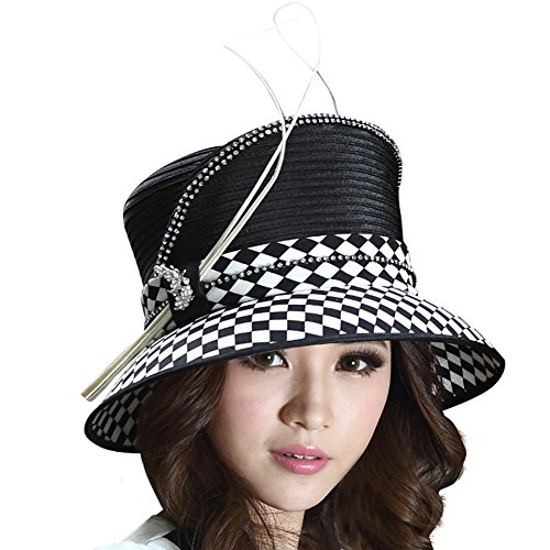 June's Young Women Hat Ladies' Winter Wide Brim Hat Top Hat Black White