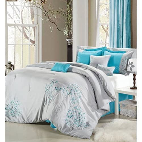 queen size petunia 12 piece bed in a bag bedding comforter set grey turquoise blue multicolor - Turquoise Bedding