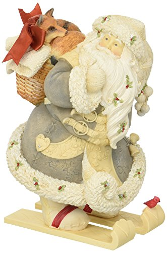 "Crystal Forest Loop - Department 56 Heart of Christmas ""Santa With Fox"" Stone Resin Figurine, 8.07"""