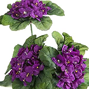 Factory Direct Craft Purple African Violet Artificial Silk Flower Bushes 4