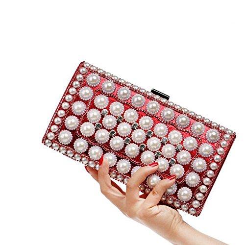 NAOMIIII Mujeres Elegante Perla De Las Señoras Noche Nupcial Fiesta Diamante Boda Pequeña Bolsa De Embrague Red