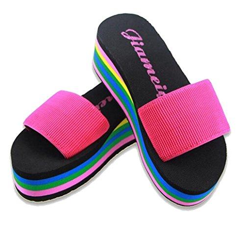 Xilalu Donne Estate Pantofola Antiscivolo Casual, Sandali Esterni Per Esterni Scarpe Da Spiaggia Morbide Spume Sole Piscina Pantofole Rosa Caldo