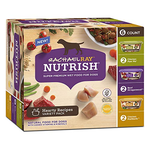 Rachael Ray Nutrish Natural Hearty Recipes Variety Pack Wet Dog Food, 8 oz, Pack of 6