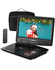 OTIC 10.1 Bluetooth Portable DVD Player for Car & Kids, 5H Rechargeable Battery, Swivel Screen, Supports CD/DVD/SD Card/USB/Sync TV (Car Headrest Case,Car Charger,Headphone, Remote Control),Black