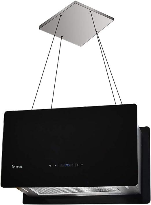 Campana extractora de diseño en isla (60 cm, acero inoxidable, cristal negro, extra silenciosa, 674m³/h, 4 escalones, iluminación LED, teclas de sensor TouchSelect) CUBE60S - KKT KOLBE: Amazon.es: Hogar