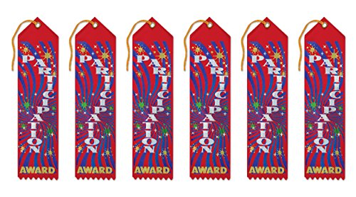 Beistle AR005 Participation Award Ribbons, 2 by 8-Inch, 6-Pack