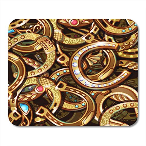 MPD Gaming Mouse Pad Abstract Bright Ornate Gold Horseshoes Pattern Chance Charm Cowboy 7.18.7 Inches Decor Office Nonslip Rubber Backing Mousepad Mouse Mat