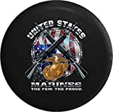 united states flag wheel cover - 556 Gear United States Marines Seal American Flag Military Veteran Jeep RV Spare Tire Cover Black 31 in