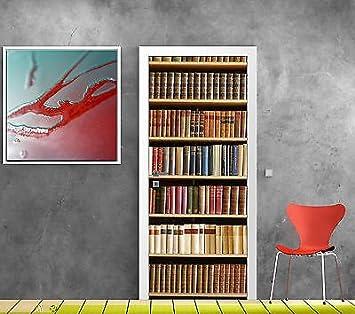 Poster de Porte Stickers muraux Biblioth/èque vintage Salon Porte Cuisine Chambre Salle de Bain Sticker Mural Papier Peint Autocollant auto-adh/ésif pour porte autocollant porte Papier Peint Po 77x200cm