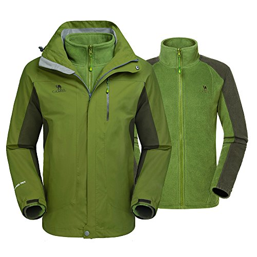 Camel Men's 3-in-1 Waterproof Jacket Windproof Winter Coat Mountain Ski Jacket (Jacket Layer Bi)