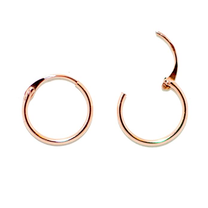 Amazon.com: 14K Rose Gold EasyOn Hinged Continuous Endless Hoop ...