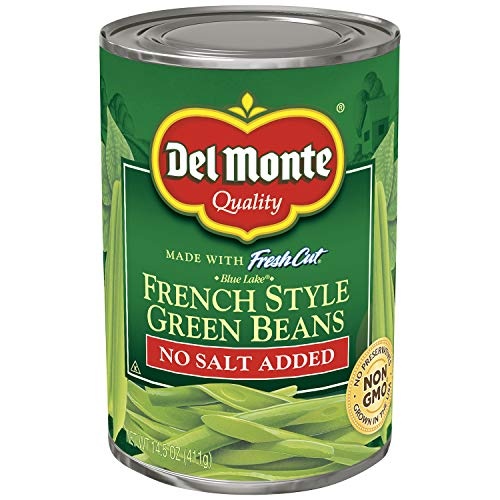 Del Monte Canned Fresh Cut Blue Lake No Salt Added Cut Green Beans, 14.5-Ounce (Pack of 24) - French Cut Green Beans