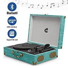 CMC® Portable Bluetooth 3 speed Turntable with Built in stereo speakers, USB charging, Vintage Style Vinyl Record Player, Turquoise