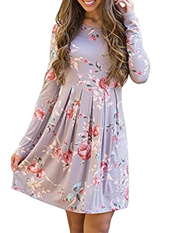 HanDanGe Fashion Floral Pleated Print Casual Long Sleeve Loose Swing Tunic T-shirt Dresses Knee Length For Women Large - Maternity Print Tunic