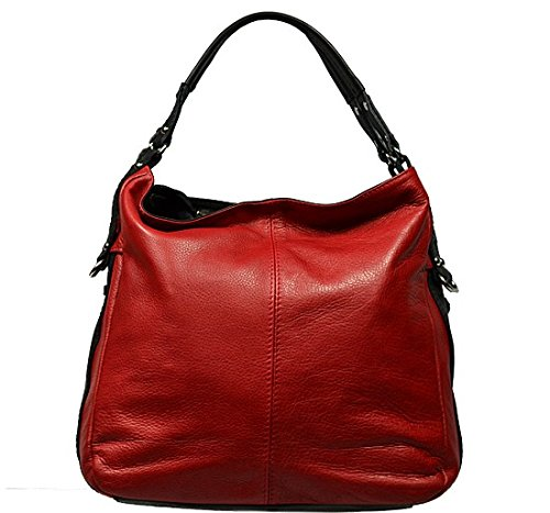 Schöne praktische Leder Rote Handtasche aus Leder Gemma Rossa Nera über die Schulter