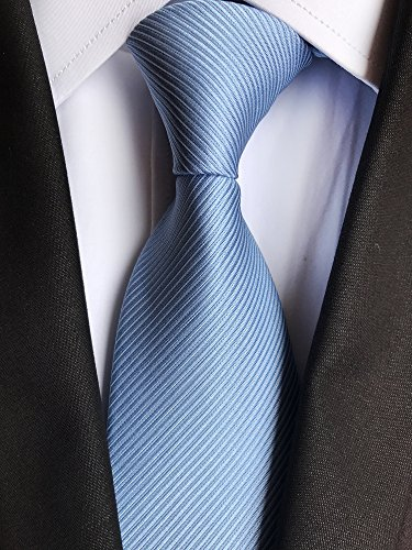 Elfeves Men's Sky Blue Silk Self Cravat Ball Party Ties 3'' width Woven for Gift by Elfeves (Image #2)