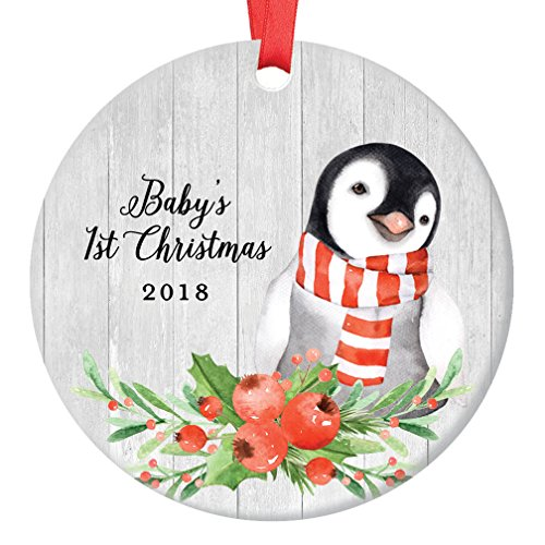 Baby Penguin Baby's First Christmas Ornament 2018, 1st Babies Xmas Present for New Girl Boy Son Daughter Mommy Daddy Parents Ceramic Porcelain Keepsake 3