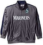 MLB Seattle Mariners Men's Team Reflective Tricot Track Jacket, 5X, Charcoal/Navy