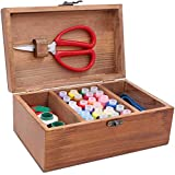 LeBeila Professional Sewing Kit With Wooden Box, Premium Sewing Accessories & Supplies Kits For Sewing Emergencies Mending, Great Gift To Beginners, Kids, Girls, Boys, Women, Men Adults(1 Box, Brown)