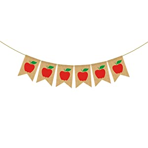 Rainlemon Jute Burlap Apple Themed Welcome Class Banner Back to School Classroom Garland Photo Booth Backdrop