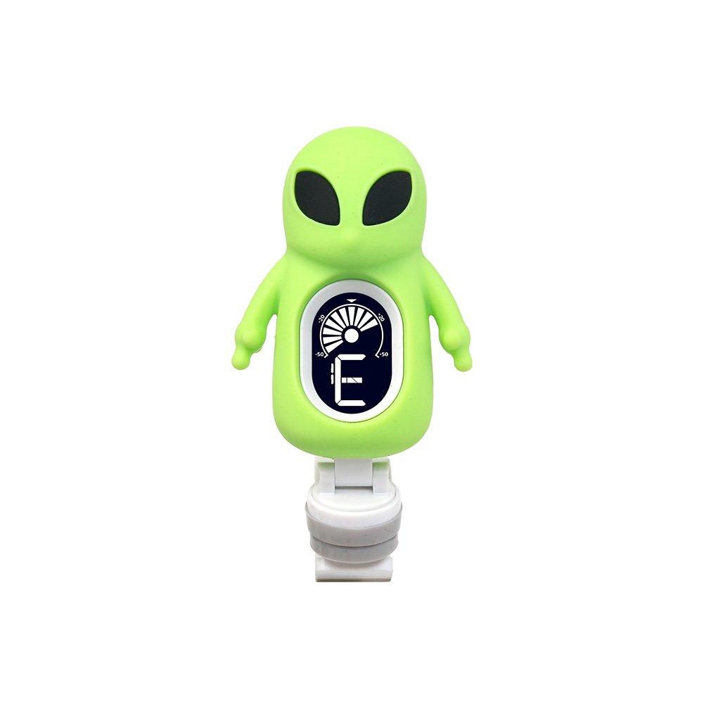Accordeur Electronique de Guitare Basse Violon Ukulélé Tuner Digital avec Style Alien de Dessin Animé Pour Instruments de Musique à Corde avec Pince Pivotante à 360°Swiff A71 (Vert) Purebesi