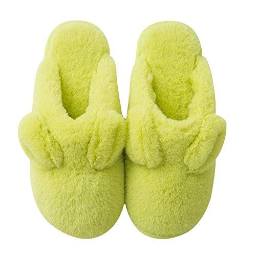 Ciabattina Delle Donne Simpatico Cartone Animato Morbido Sfocato Famiglia Coperta Pantofola Non Slittamento Di Colore Solido Verde