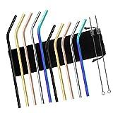 CHACCA Stainless Steel Straws, Set of 10, Metal Straws Fit into 20oz 30oz YETI Ozark Tumblers