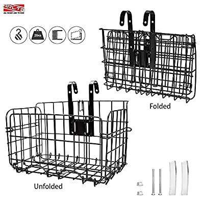 Arltb Lift Off Folding Bike Basket Rust Proof Easy Installation on Front Handlebar & Rear Seat Capacity 44lbs Suitable for Folding Bikes and Some Mountain Bikes - Black / Silver