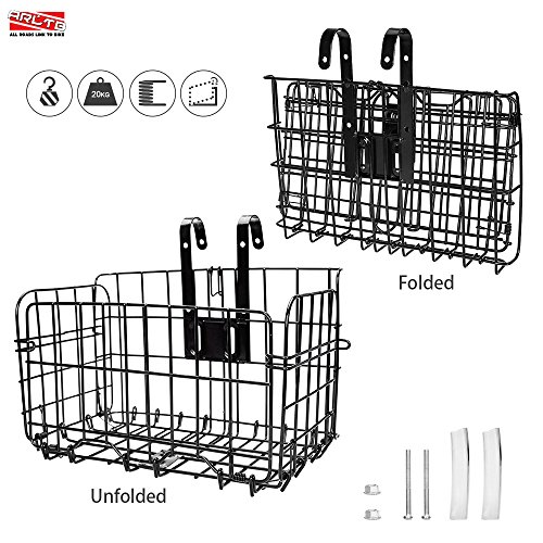 Arltb Lift Off Folding Bike Basket Rust Proof Easy Installation on Front Handlebar & Rear Seat Capacity 44lbs Suitable for Folding Bikes and Some Mountain Bikes Black / Silver