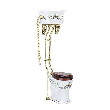 Puppenhaus Puppenstube 1:12 Bad Badezimmer mit goldenem Rand 5tlg.