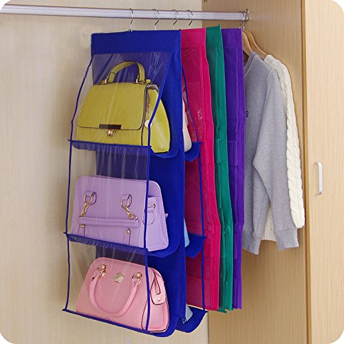 Cacys Store - Family Organizer Backpack handbag Storage Bags Be Hanging Shoe Storage Bag High Home Supplies 6 Pocket Closet Rack Hangers (Blue)