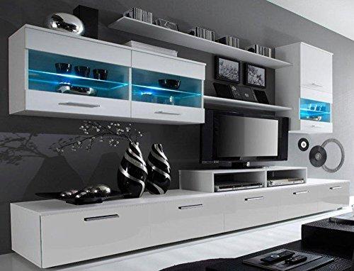 SelectionHome - Mueble salon Comedor Moderno con Leds, Acabado en Blanco Mate y Blanco Brillo Lacado, Medidas: 250x194x42 cm de Fondo