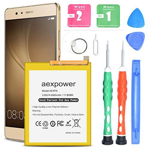 AexPower 3080mAh Battery HB366481ECW Replacement for Huawei P9 EVA-L09, P9 Lite/Honor 8, P9 Dual Sim (EVA-L19), Huawei EVA-AL00/EVA-AL10/EVA-TL00 with Tool Kit