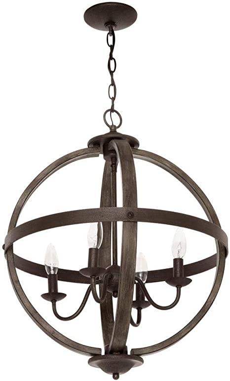 Progress Lighting Keowee Collection 19.88 in. 4 Light Artisan Iron Orb Chandelier with Elm Wood Accents