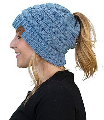 e366e403e4e Funky Junque CC Ponytail Messy Bun BeanieTail Womens Beanie Solid Ribbed  Hat Cap