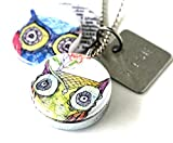 Owl Locket Necklace - WISE Charm - 3 Magnetic, Interchangeable Lids - Choice of Locket Size and Chain Length - Holds a Picture Inside