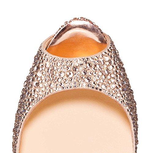 MERUMOTE - Zapatos de tacón de aguja mujer Gold-Rhinestones