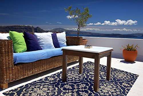 Brown Jordan Prime Label Patio Furniture Rug 5x7 Neptune Collection Sisal Modern Navy Outdoor Rugs, Blue, Standard by Gertmenian