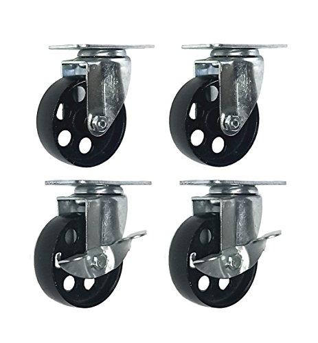 4 All Steel Swivel Plate Caster Wheels w Brake Lock Heavy Duty High-gauge Steel 1500lb total capacity (3' Combo)