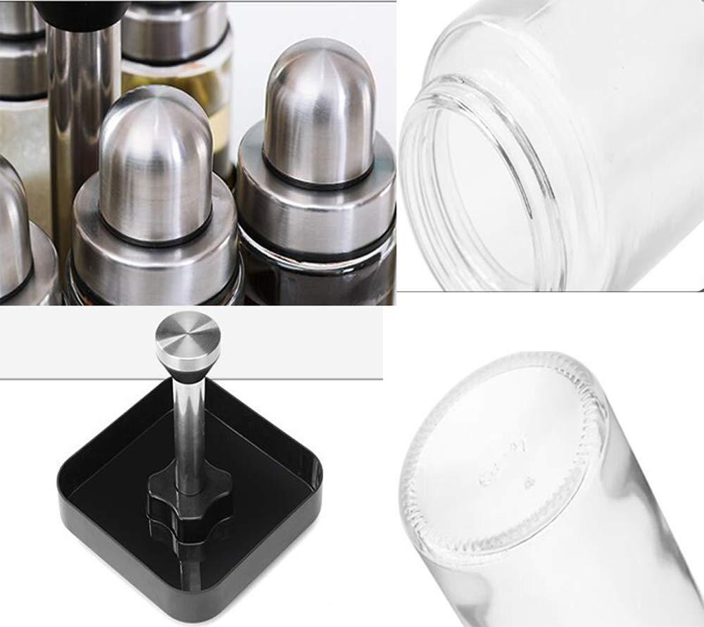 restaurante hotel barbacoa cocina organizador de carrusel de especias independiente para el hogar Estante de especias giratorio para 8 frascos de vidrio con tapas de acero inoxidable