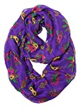 S-730-40 Funky Junque's New Orleans Party Mardi Gras Infinity Scarf - Purple